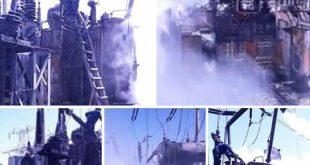 حريق كبير يلتهم محطة تحويل حماة الثانية وانقطاع الكهرباء