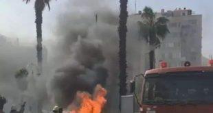 احتراق سيارة خاصة في شارع الحمراء وسط العاصمة دمشق