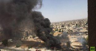 إخماد حريق عند مدخل مخيم اليرموك بدمشق