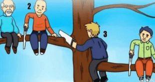 4 رجال يجلسون على شجرة، 3 منهم معهم منشار