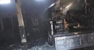 حريق بصهريج مازوت في محطة وقود بحماة