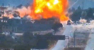 تفجير ضخم يستهدف دورية روسية على طريق إم 4 بإدلب.. شاهد!