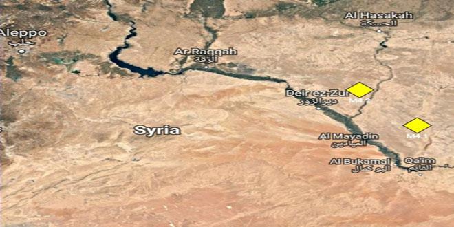 هزتان أرضيتان قريبتان من مدينتي دير الزور والميادين