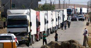 15 شاحنة سورية محمّلة بالفواكه والمواد الغذائية والمنظفات تعبر منفذ البوكمال يومياً