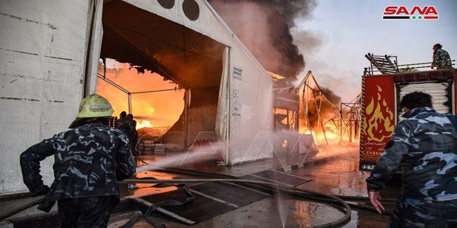 حريق هائل يتسبب بخسائر فادحة وسط العاصمة دمشق