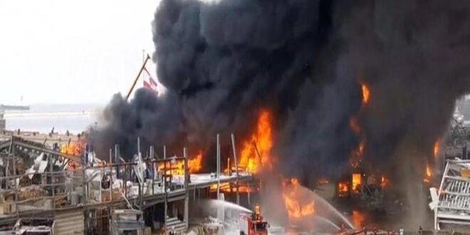 """اندلاع حريق كبير في """"مرفأ بيروت""""... فيديو"""