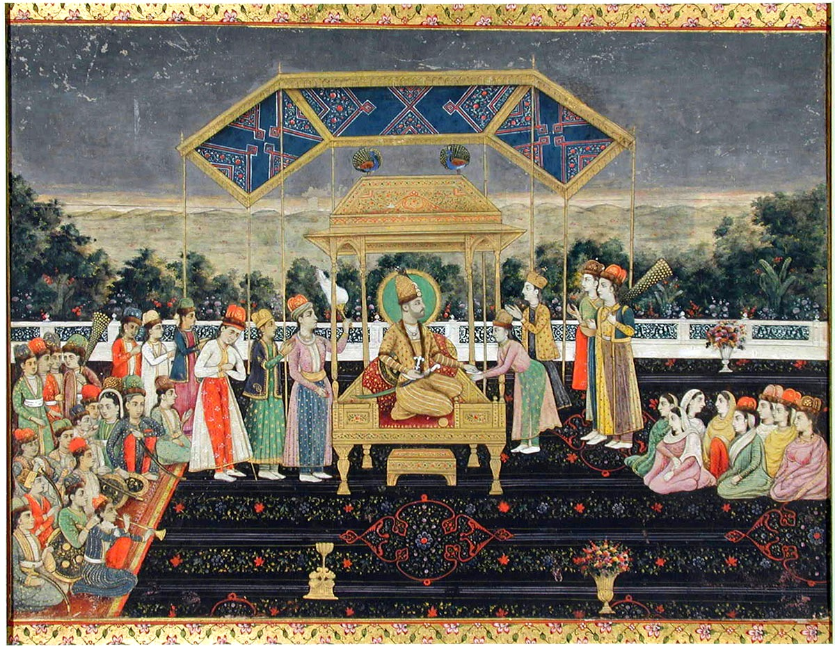 nadir shah on the peacock throne after his defeat of muhammad shah  ca  1850 san diego moa