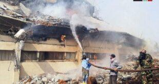 النيران التهمت 1500 طن من التبغ في مستودعات القرداحة