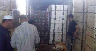 معبر نصيب: خروج 310 شاحنات سورية تحمل أكثر من 6 آلاف طن من الخضر والفواكه