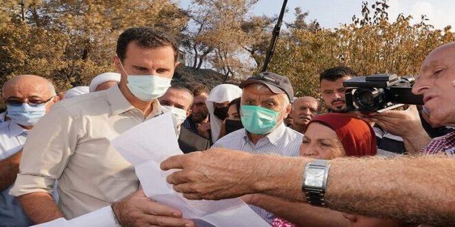 الرئيس السوري: الحرائق كارثة وطنية وسنتحمل عبء الدعم للمتضررين