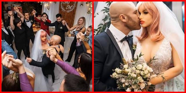 لاعب كمال اجسام يتزوج دمية
