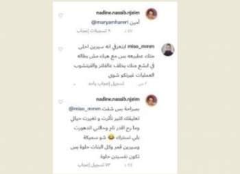 نادين نسيب نجيم ترد على متابعة قالت لها :سيرين عبد النور أحلى منك