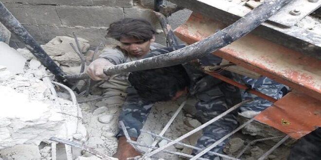 جرحى بانهيار بناء من 6 طوابق في ريف دمشق