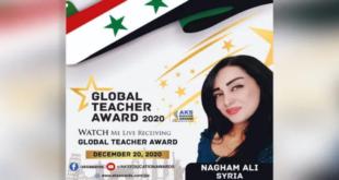 Screenshot 2020 11 25 المعلمة السورية نغم علي تفوز بجائزة المعلم العالمي لعام 2020 تلفزيون الخبر اخبار سوريا