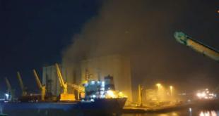إصابة عمال إثر حريق داخل صومعة الحبوب في مرفأ طرطوس