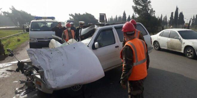 وفاة مواطن وإصابة 3 آخرين بحادث سير على طريق حمص - دمشق