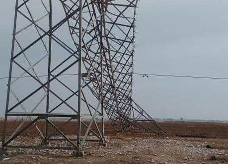 انهيار برجين يتسبب بانقطاع الكهرباء عن محافظة الحسكة