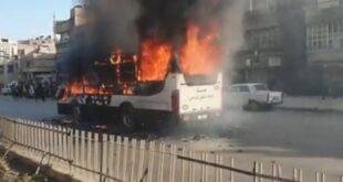 إخماد حريق في حافلة للنقل الداخلي في دمشق.. شاهد!