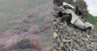 وفاة الأب والأم وطفل وجرح شابين.. تدهور سيارة من أعلى جبل السيدة في المشتى