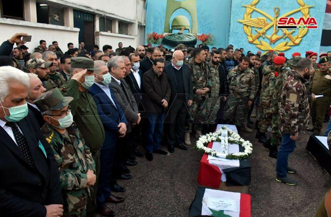 تشييع جماعي في حمص.. شهداء الهجوم الإرهابي على حافلة للجيش السوري