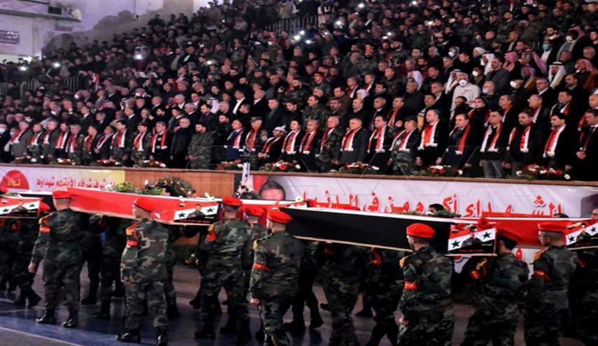 تشييع 46 شهيداً من فصيل رديف للجيش السوري ارتقوا عام 2016 بحلب