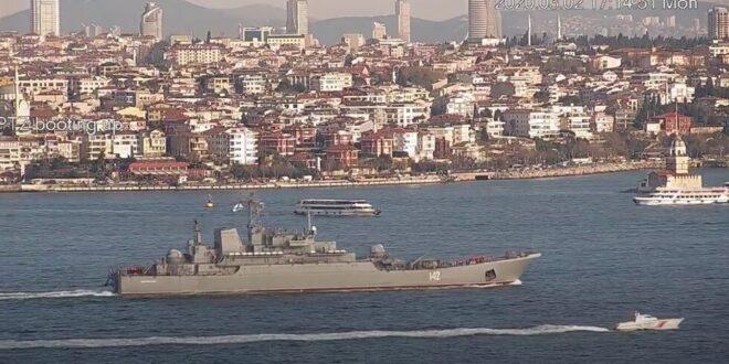 """سفينة الإنزال الروسية """"نوفوتشيركاسك"""" تجتاز """"البوسفور"""" إلى سوريا"""