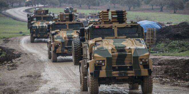 رتل عسكري تركي ضخم يدخل مدينة إدلب السورية