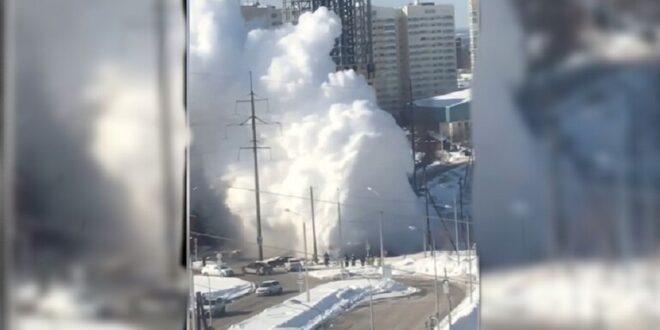 انفجار أنبوب ماء ساخن بدرجة حرارة تحت الصفر