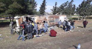 سوريا .. وفاة شابة و31 جريحا في انقلاب حافلة على طريق حمص حماة