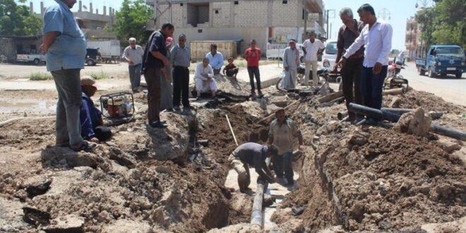 متعهد يتسبب بأعطال في شبكة المياه والكهرباء في الحسكة بسبب اعمال حفر خاطئة