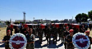 تشييع 20 شهيد مجهولي الهوية من مقاتلي الجيش السوري بعد أعوام على استشهادهم