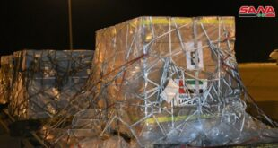 وصول طائرة مساعدات اماراتية الى مطار دمشق