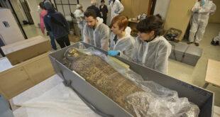 سر المومياء الحامل التي اكتشفت في طيبة المصرية