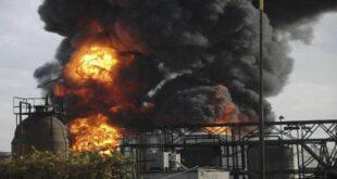 حريق كبير في مصفاة حمص للنفط