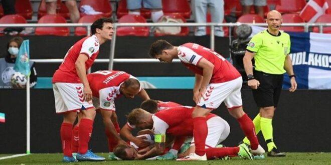 اللاعب الدنماركي إريكسن يثير الرعب في يورو 2020 بعد سقوطه في الملعب جراء نوبة قلبية