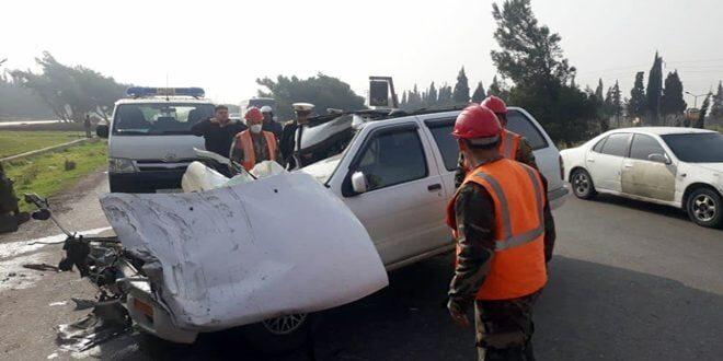 إصابة 3 مواطنين بـ حادث سير مروع على اوتستراد حمص _ طرطوس
