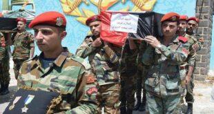 تشييع ٧ عسكريين سوريين بينهم عقيد استشهدوا في العدوان الاسرائيلي أمس