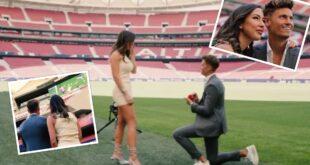 نجم أتلتيكو مدريد يفاجئ صديقته ويطلب يدها للزواج على أرضية الملعب بطريقة رومانسية (فيديو)