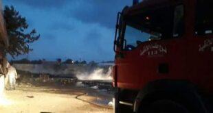 إخماد حريق في ساحة فرع السورية للتجارة باللاذقية