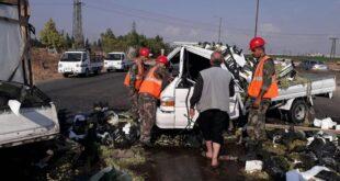 وفاة شخص بحادث سير مؤلم على اوتستراد حمص - حماة