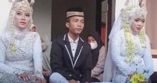 شابة تقتحم حفل خطوبة صديقها وترغمه على الزواج منها إلى جانب العروس