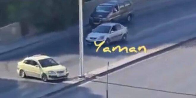 بقعة مازوت تتسبب بانزلاق عشرات السيارات على طريق دمر بدمشق.. شاهد!