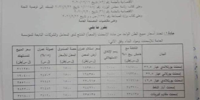 صدور قرار برفع سعر الاسمنت الحكومي في سورية